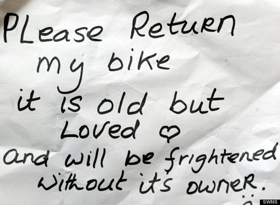 """The note left by Eileen - Nurse Eileen Remedios, who had her bike stolen.  She put a note out saying she'd like it back and a couple of days later a note apologising appeared which had a key for a bike lock and the bike chanied up nearby.  See SWNS story SWNOTE.  A cyclist who wrote a note pleading for the thief who stole her bicycle to return it was stunned when it was given back - along with a written APOLOGY.  Nurse Eileen Remedios, 55, stuck her letter to a lamppost close to the spot where her trusty old bicycle was stolen during a visit to patient's home.  To her disbelief the next day she found a regretful apology from the reformed thief under the mat of the home she had visited.Two keys were stuffed inside the old Christmas card and her bike was attached to a nearby lamppost - with a brand-new lock.  Baffled Eileen, of Brighton, East Sussex, said: """"It really has restored my faith in humanity"""""""